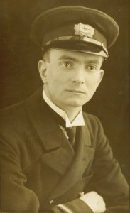 Billy Hunter in the uniform of a Merchant Navy Engineering Officer (the cap badge is of the Port Line Ltd)