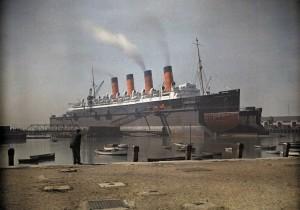 Mauretania in dock Southampton 1928